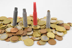Money and Weapons Concept Bullet Royalty Free Stock Photos
