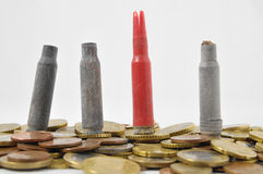 Money and Weapons Concept Bullet Royalty Free Stock Photo