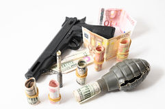 Money and Weapons Concept Weapons Royalty Free Stock Photos