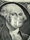 Money wearing a health doctor mask royalty free illustration