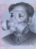 Money wearing a health doctor mask stock illustration