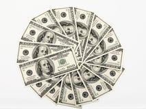 Money wheel. 100 dollars money bills wheel stock photography