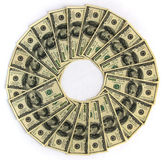 Money wheel of fortune. Is a circular background in the shape of a wheel with money american hundred dollar bills Royalty Free Stock Photo