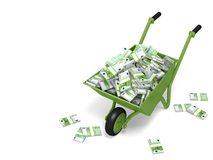 Wheelbarrow with Money. Green wheelbarrow with money. Clipping path. 3D illustration royalty free stock photos