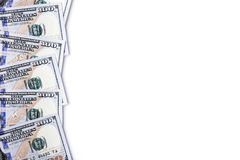 Money on a white background. Banknotes in one hundred dollars, financial prosperity, dollars on white background, space for design, money close-up stock photo
