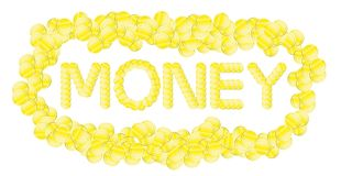 Money on a white background. The word money coins on white background Stock Photography
