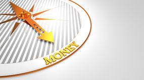 Money on White with Golden Compass. Royalty Free Stock Photo