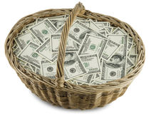 Money wicker basket Stock Photo