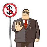 Money will not give. Boss, businessman or banker does not give money Stock Image