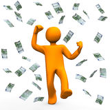 Money Winner. Orange cartoon character has win money and is happy Stock Photos