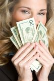 Money Woman. Beautiful business woman holding money Stock Photography