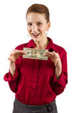 Money. Woman getting 20 dollars cashback Stock Photos