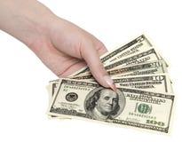 Money in woman hand Stock Photo