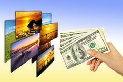 Money in woman hand buying photo Stock Image