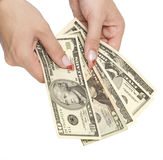 Money in woman hands Royalty Free Stock Photos