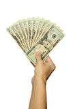 Money in Woman's Hands. A woman holding a fold of money Royalty Free Stock Images