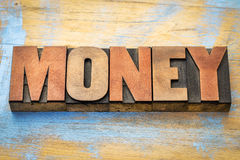 Money word abstract in letterpress wood type Stock Photography