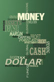 Money word cloud. Dollar word cloud on green background Royalty Free Stock Photos
