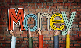 Money Word Concepts and Brick wall Background Royalty Free Stock Photo