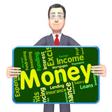 Money Word Represents Savings Words And Text. Money Word Meaning Revenue Cash And Currency Royalty Free Stock Images
