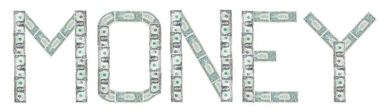 Money word from Us dollar over white Stock Photo