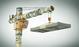 Money work. The monetary crane, Builds business (with path Stock Images