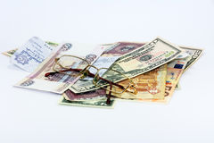 The money in the world. The different denominations of the different States Stock Images