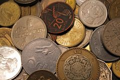 Money of the world, countries, coins, wealth, values, India, Azerbaijan, Mexico, Russia, tourism, travel, finance, business. These are coins from various stock image