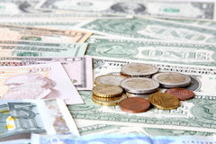 Money. World currencies. U.S. dollars, pounds and euros. Banknotes and coins Stock Photography