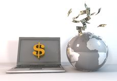 Money world digital era. 3d rendering image to indicate the financial world concepts Royalty Free Stock Image