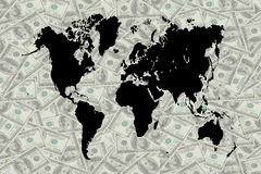 The money and world map. Stock Photo