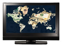 Money world television Stock Photography