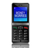 Money worries concept. Illustration depicting a phone with a money worries concept Stock Photos