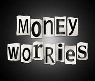 Money worries concept. Illustration depicting a set of cut out printed letters arranged to form the words money worries Royalty Free Stock Images