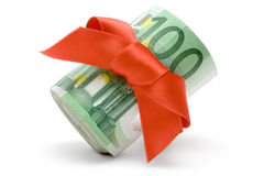 Money Wrapped in Red Ribbon stock images