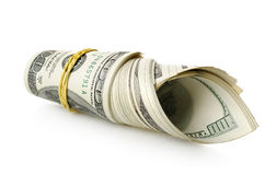 Money wrapped in a rubber band stock image