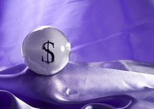 Money in your Future. A crystal ball with a prediction of Money Stock Images