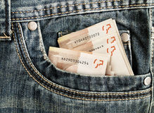Money in your pocket in jeans Stock Photography