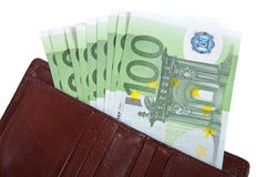Money in your wallet. Several bills of 100 euros. Isolated on wh Royalty Free Stock Image