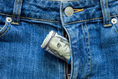 Money in a zipper. Royalty Free Stock Image