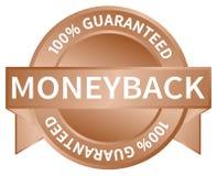 Moneyback garanterad klistermärke, formell bild för garanterade försäljningar som isoleras royaltyfri illustrationer