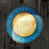 Moneyback Guaranteed Label. With Gold Badge Sign on Wooden Texture vector illustration