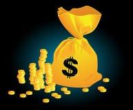 Moneybag_on_black_background Stock Image