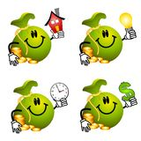 Moneybag Cartoons Holding Objects vector illustration