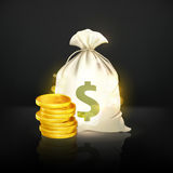 Moneybag and coin, black. Vintage illustration Royalty Free Stock Photo