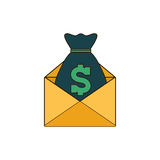 Moneybag with envelope icon image Stock Photo