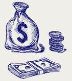 Moneybag et pièce de monnaie Photographie stock libre de droits