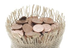 Moneybag full of coins Royalty Free Stock Photography