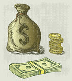 Moneybag i moneta Fotografia Royalty Free