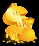 moneybag noir du dollar de fond Image stock